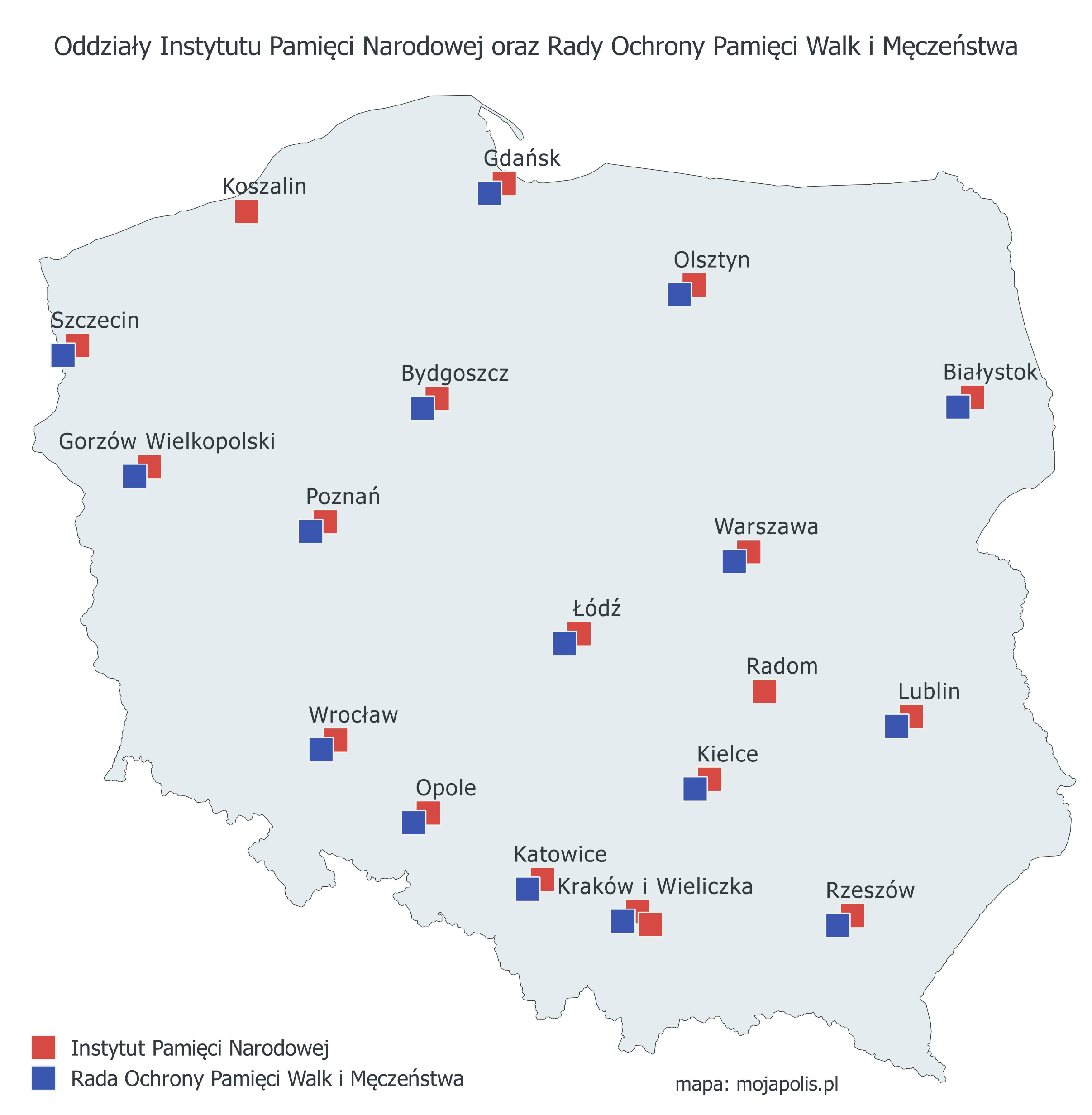 Mapa oddziałów IPN w Polsce